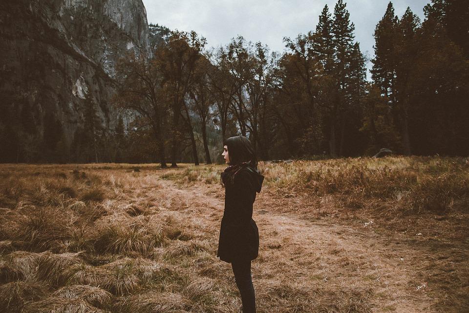 אישה, מעיל, חורף, יער